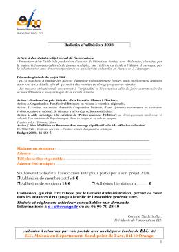 Bulletin d`adhésion 2008 Souhaiterait adhérer à l