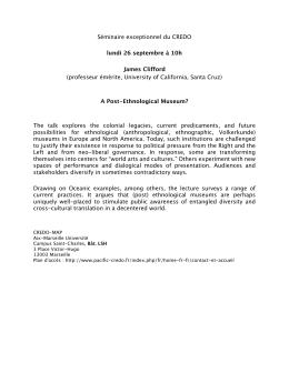 Séminaire exceptionnel du CREDO lundi 26 septembre à 10h
