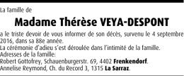 Madame Thérèse VEYA-DESPONT