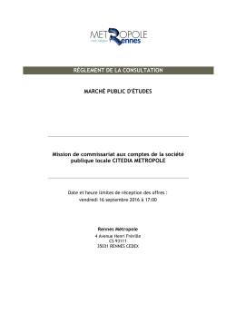 Règlement de consultation - La salle des marchés MEGALIS