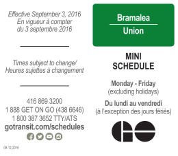 Bramalea Union MINI SCHEDULE