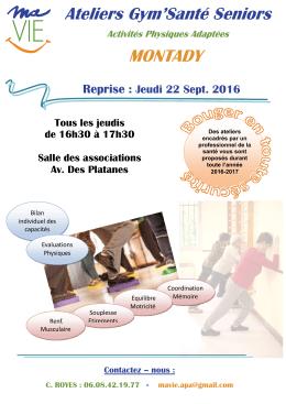Ateliers Gym`Santé Seniors MONTADY