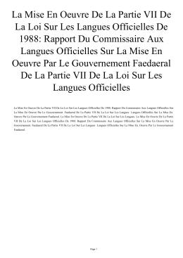 La Mise En Oeuvre De La Partie VII De La Loi Sur Les Langues