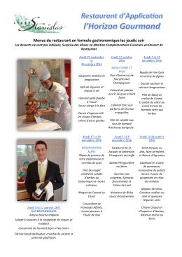 Les menus du 1er semestre en formule - Académie de Nancy-Metz