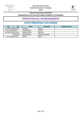 liste principale des admis
