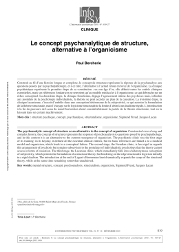 Le concept psychanalytique de structure, alternative à l`organicisme