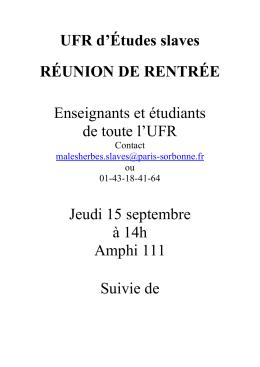 réunion de rentrée slave - Université Paris