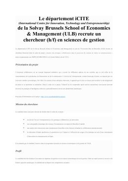 (ULB) recrute un chercheur (h/f) en sciences de