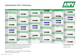 Abfuhrkalender 2016 - Dietersburg - Abfallwirtschaftsverband Isar-Inn