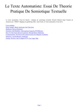 Le Texte Automatiste: Essai De Theorie Pratique De Semiotique