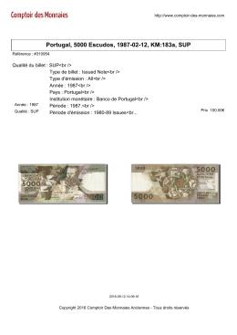 Portugal, 5000 Escudos, 1987-02-12, KM:183a, SUP