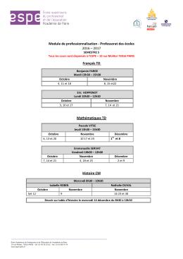 Emploi du temps semestre 5 - Université Paris