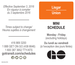 Lisgar Union MINI SCHEDULE