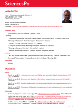 CV Adrian Favell - Spire