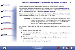Détection des formats de supports d`impression spéciaux