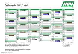 Abfuhrkalender 2016 - Arnstorf - Abfallwirtschaftsverband Isar-Inn