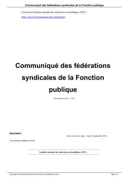 Communiqué des fédérations syndicales de la Fonction