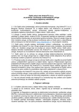 Opšti uslovi - mts Antena TV