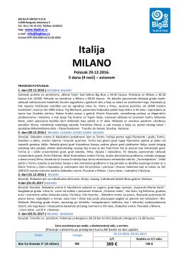 Milano NG Big Blue - Turistička agencija Big Blue