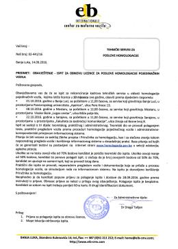 obavještenje - ispit za obnovu licenci