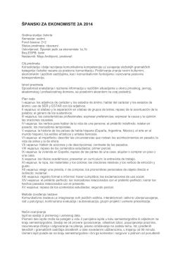 ŠPANSKI ZA EKONOMISTE 2A 2014