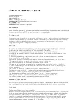 ŠPANSKI ZA EKONOMISTE 1B 2014