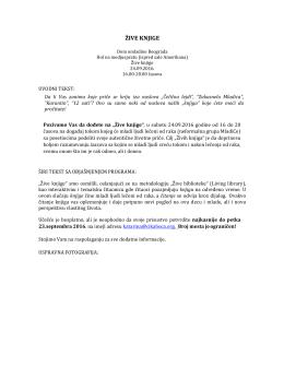 Pozivno pismo na događaj Žive knjige 24.09.2016 od 16 do 20