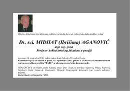 Dr. sci. MIDHAT (Ibrišima) AGANOVIĆ