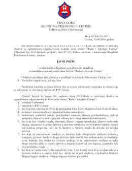 CRNA GORA SKUPŠTINA PRIJESTONICE CETINJE Odbor za izbor