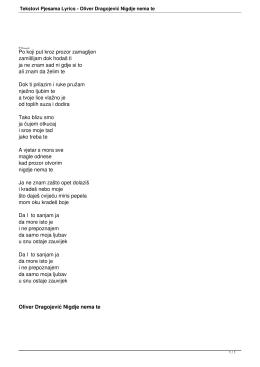 Tekstovi Pjesama Lyrics - Oliver Dragojević Nigdje nema te