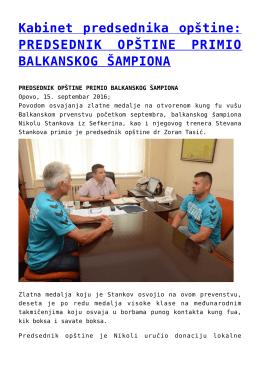Kabinet predsednika opštine: PREDSEDNIK OPŠTINE