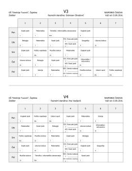 Одељенски распореди Златибор