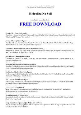 HIDROLIZA NA SOLI | Free PDF