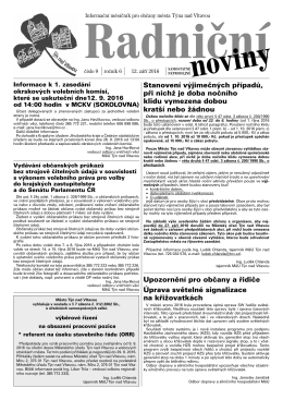 Radniční noviny - září 2016