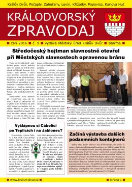 Zpravodaj 09-2016 - Město Králův Dvůr