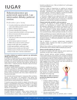 Rekonvalescence po poševních operacích / po odstranění dělohy