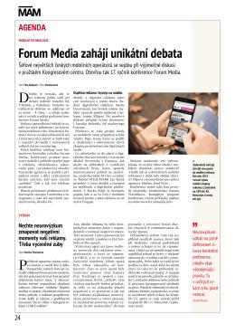 Forum Media zahájí unikátní debata