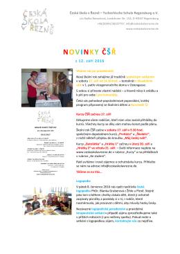 novinky čšř - Česká škola v Řezně