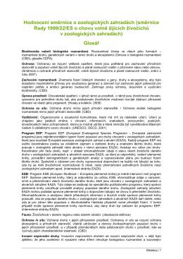 Hodnocení směrnice o zoologických zahradách (směrnice Rady