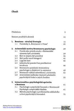 Předmluva 9 Seznam použitých zkratek 14 1,Brentano