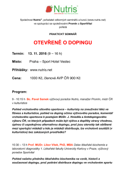 Otevřeně o dopingu... Praha- Sport Hotel Vestec