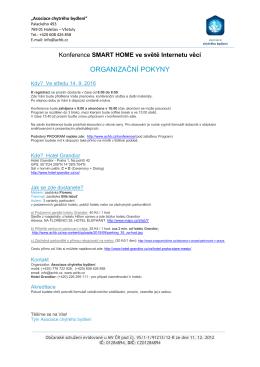 organizační pokyny - Asociace chytrého bydleni