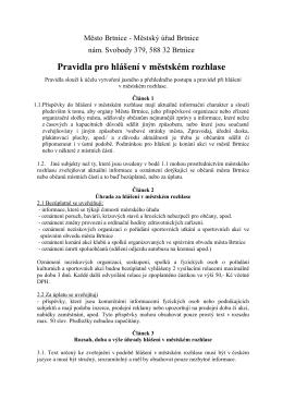 Pravidla pro hlášení v městském rozhlase