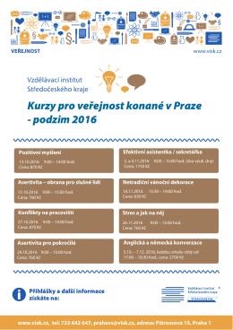 Kurzy pro veřejnost konané v Praze - podzim 2016