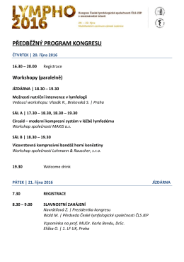 předběžný program kongresu