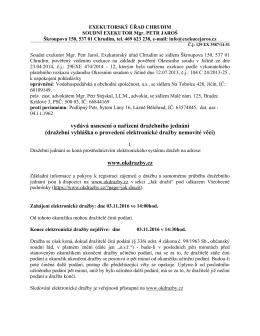 dražební vyhláška o provedení elektronické dražby nemovité