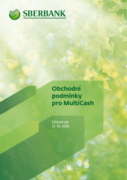 MultiCash - Sberbank CZ