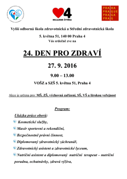 24. den pro zdraví - Vyšší odborná škola zdravotnická a Střední