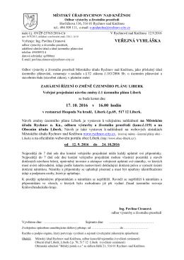 Veřejné projednání návrhu změny č.1 územního plánu Liberk