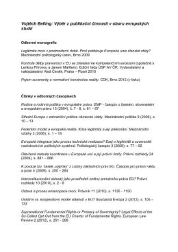 Vojtěch Belling: Výběr z publikační činnosti v oboru evropských studií